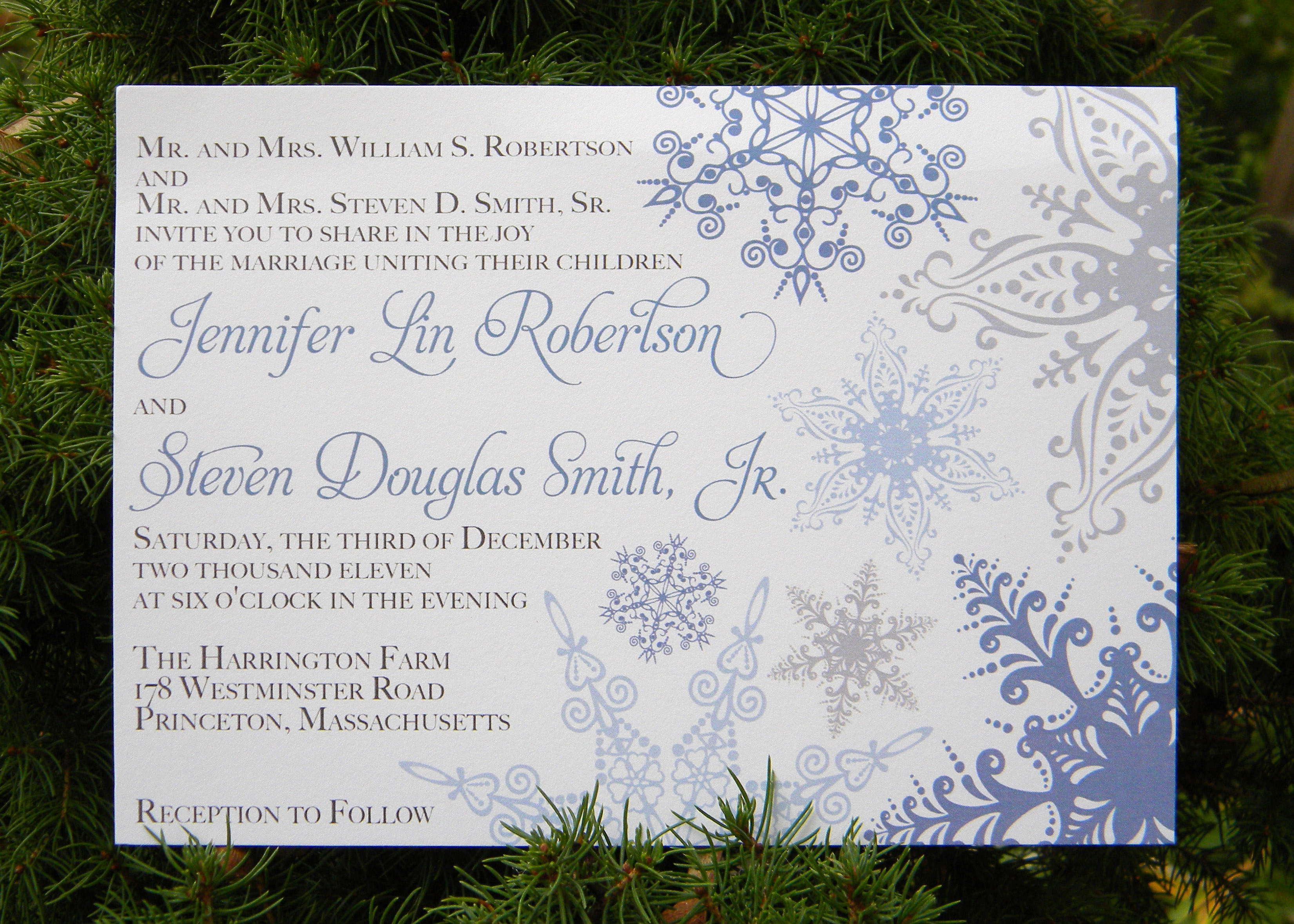 Posted in Invitations Tagged blue weddings invite rsvp snowflakes